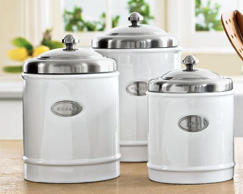 White Kitchen Canister Set