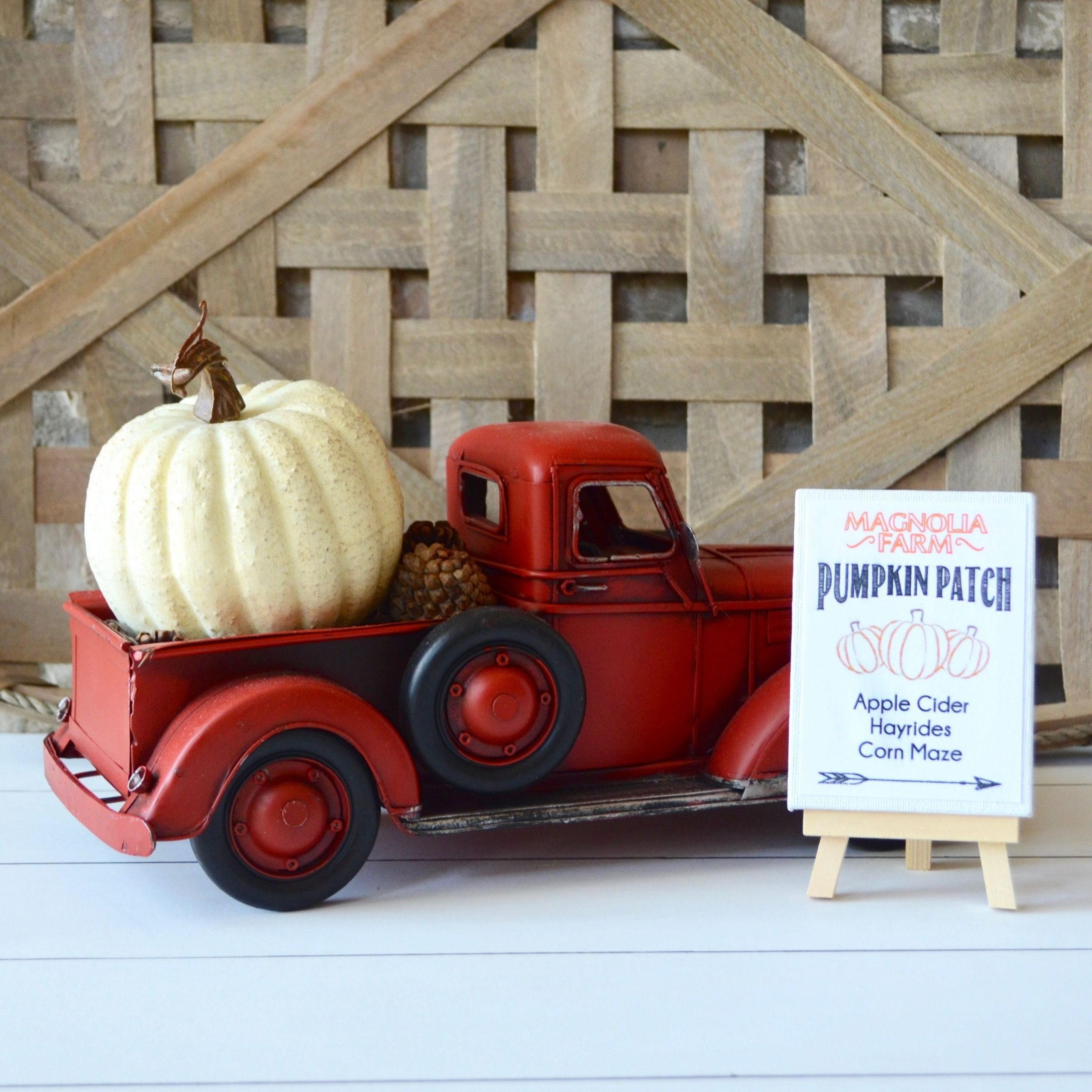 Red Truck Fall Decor