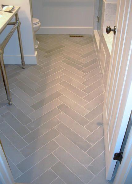 Herringbone Bathroom Floor