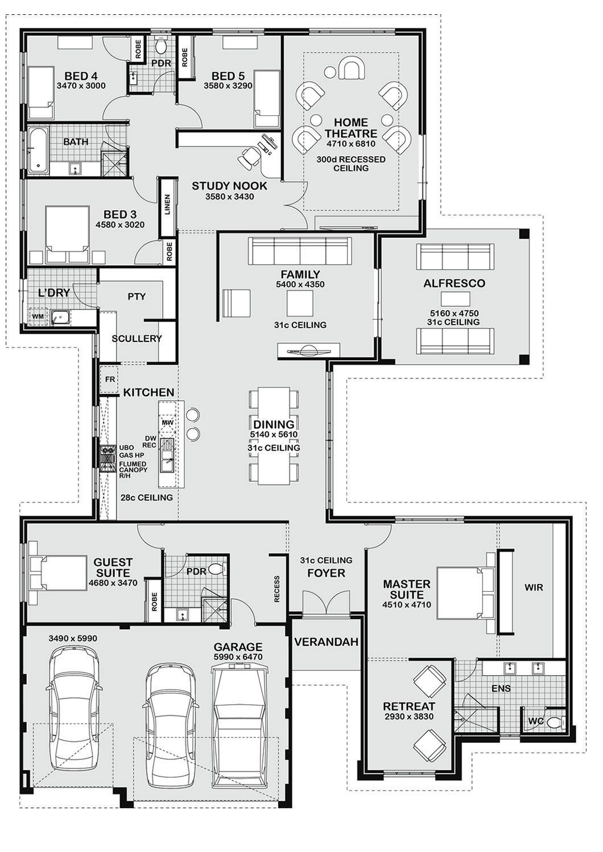 5 Bedroom House Floor Plans
