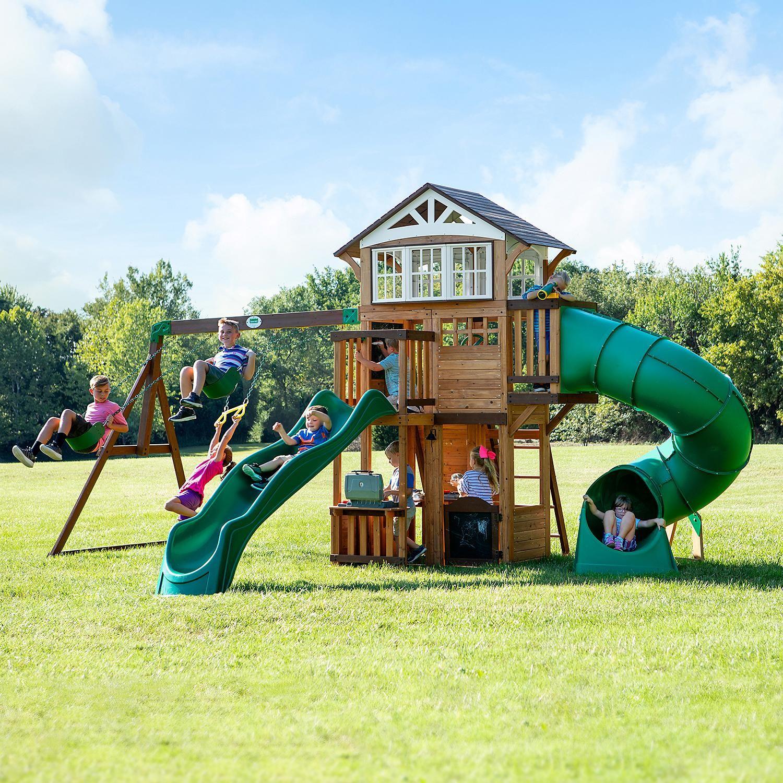 Backyard Discovery Bristol Point Cedar Swing Set Playset