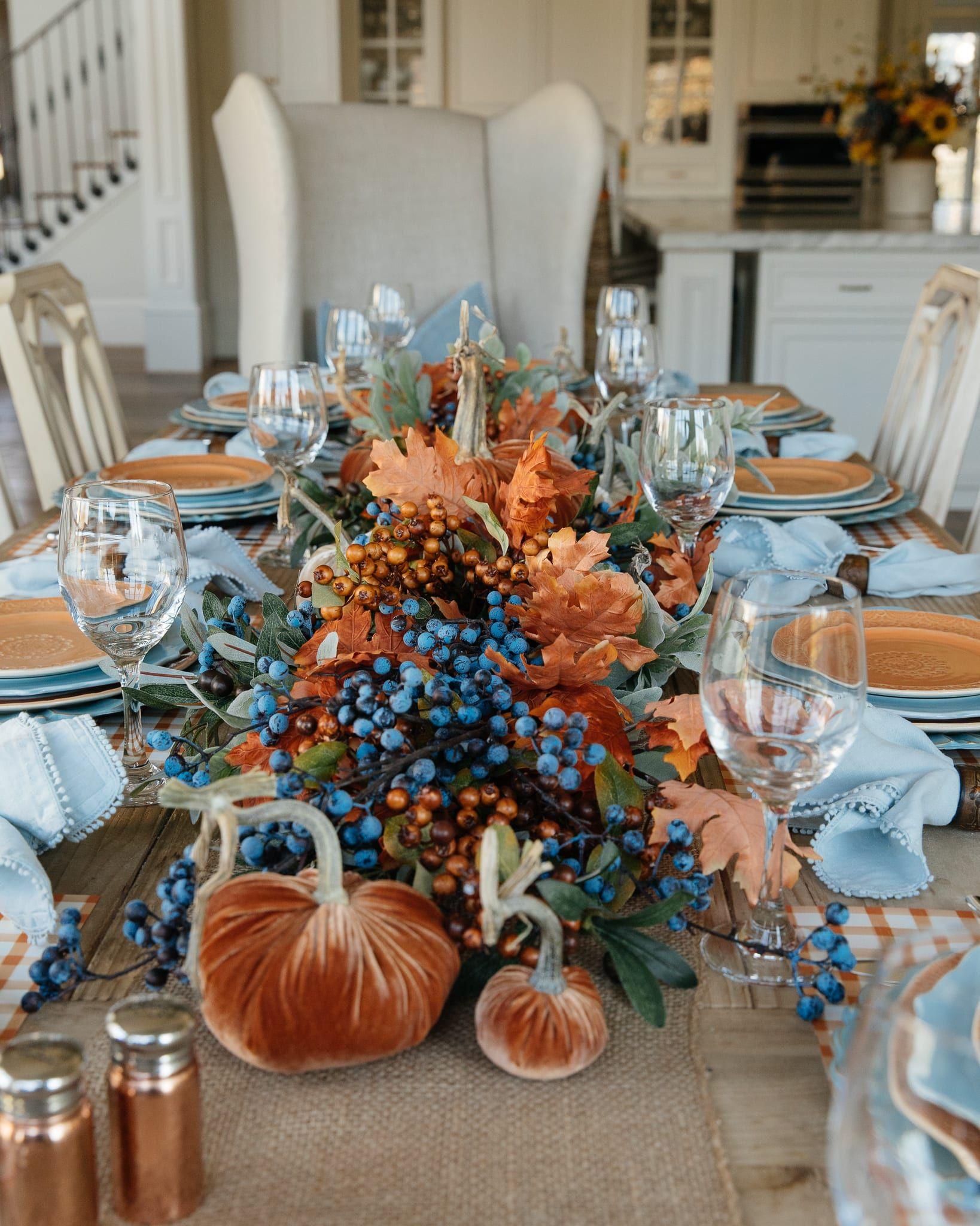 Blue And Orange Fall Decor