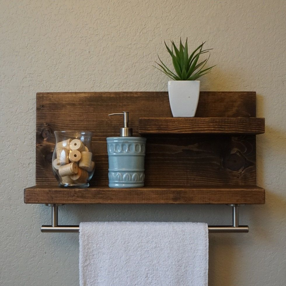 Bathroom Shelf With Towel Rack