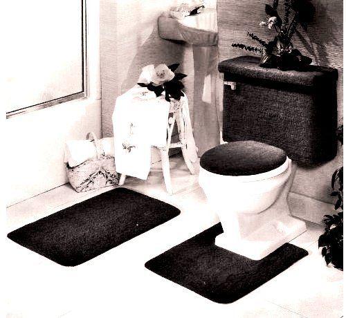 Black Bathroom Rug Set