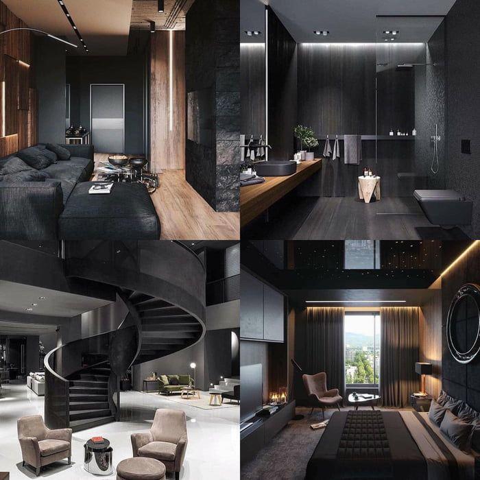 Black Modern House Interior